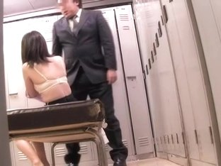 Japanese slut is penetrated by director's rod and climaxes