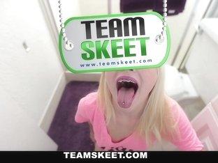 ThisGirlSucks - Skinny Blonde Stuffs Huge Cock In Her Mouth