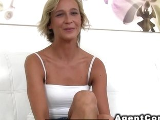 Blonde waitress fucks in casting
