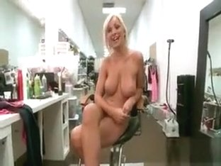 Busty blonde slut gets horny showing off