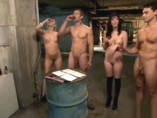 Horny Bitches Foursome In The Jailcell With Nasty Dudes