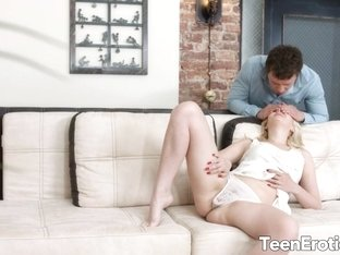Teen Miranda May Gets Some Help from BF After Getting Caught Masturbating