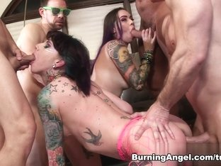 Exotic pornstars Chad Alva, John Strong, Joanna Angel in Incredible Group sex, Facial porn scene