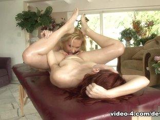 Exotic pornstars Andrea Sky, Katja Kassin in Crazy Cunnilingus, Lesbian porn video