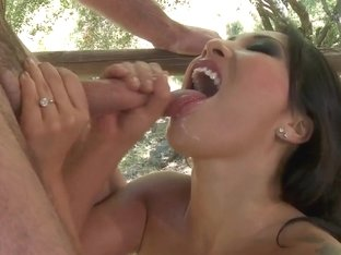 Asa Akira's mouth is gently fucked by strapping young lad