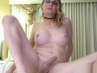Busty solo trans strips and wanks hard cock
