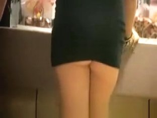 Drink blonde in very short dress