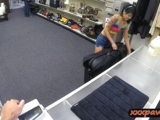 Asian girl gives pawn man a happy ending at the pawnshop