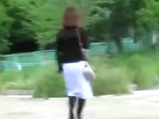 Cheerful wonderful Asian babe loses her pretty skirt during sharking meeting