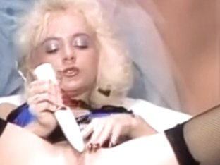 Blonde in hot lingerie dildo plays