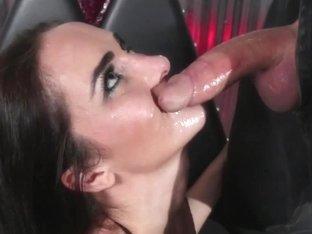 Throatfucked sub gagging on cock balls deep