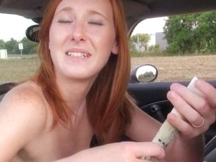 Taut redhead Eurobabe pounded in the fileds for cash