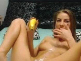 Cute busty blonde masturbates with a banana