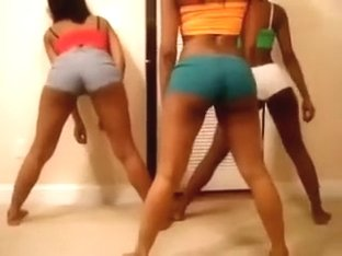 three black chicas with stout booties are twerking on web camera