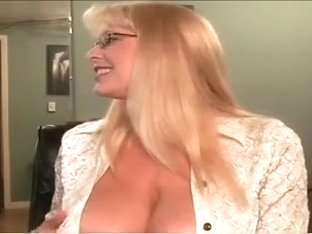 Playful blonde cougar teases me with her big natural jugs