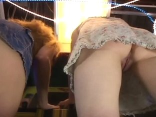 Upskirt no panties video with two sexy bartenders