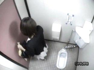 Bathroom masturbation with cute little slag drilling her horny snatch