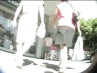 Beautiful girls are being filmed upskirt on camera