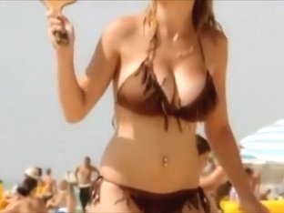 Girl's boobs bounce as she plays the game