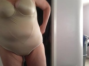 lotion on legs, fat pussy, big tits, girdle