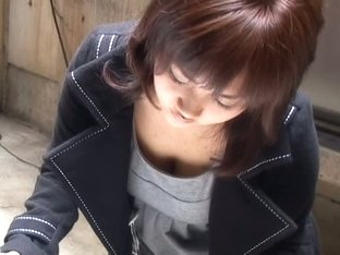 Big jugs downblouse with asian chick