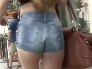 Teenage ass in denim shorts