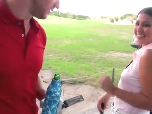 Arousing petite latina gets anughty at golf match