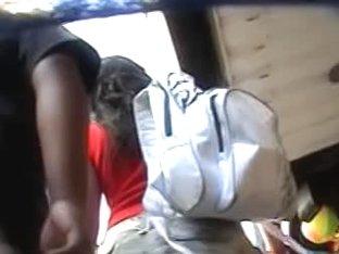 A kinky couple underskirt vid shot with a hidden cam