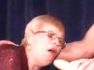 granny in a double penetration and facial on her glasses