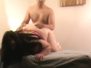 Fat girl with huge tits massages her man and fucks him