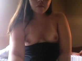 Horny girl plays with her small tits and shaved pussy on cam for her bf