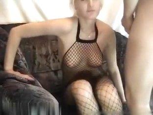 Hot girlfriend Monica in fishnets