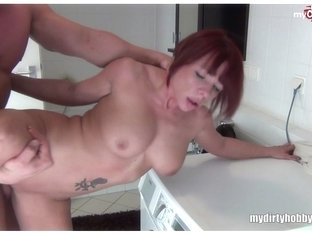 Fucked redhead MILF while german dirty talk