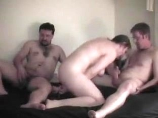 Amateur bitch with 2 guys and a toy