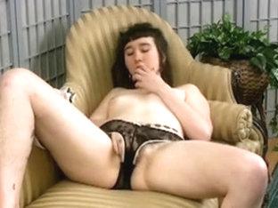Dirty slut fingering her hairy muff