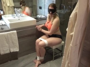Teen Babysitter Bondage in Bikini - Handcuffed, Blindfolded, Gagged