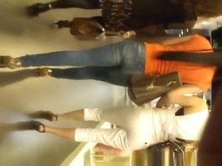 Nice ass and legs woman in tight jeans pants