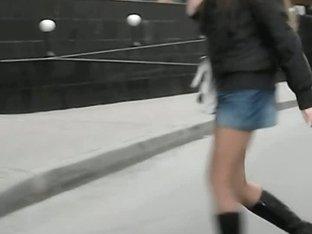 Teen schoolgirl brunette upskirt voyeur vid
