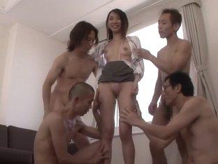 Horny Japanese girl Mika in Hottest skinny, gangbang JAV scene