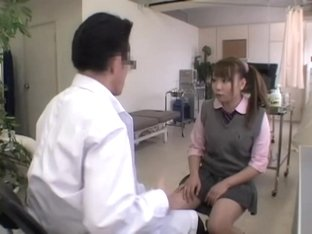 Jap schoolgirl gets some fingering during her medical exam