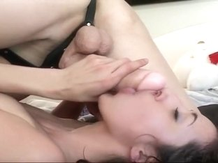 Strap-On Toy Slides Into Wet Hairy Pussy