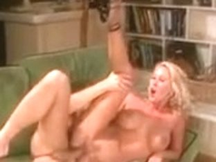 Golden-Haired with biggest mambos is screwed doggy position by businessman on leather ottoman