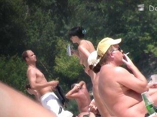 Real beach voyeur video with sexy European babes