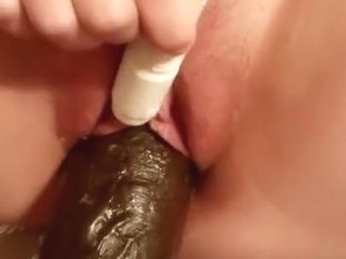 Wife stretches pussy with big black bam dildo