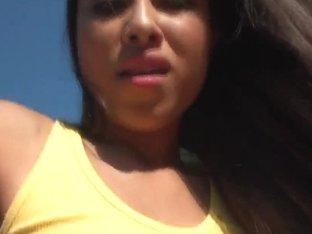 Young brunette Cali Lee enjoys outdoor sex