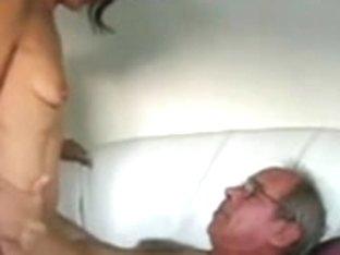 Mature couple anal sex on sofa