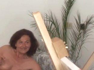 2 concupiscent buddies fuck granny