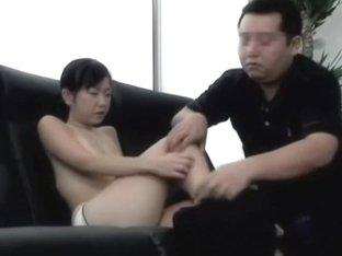 Brunette from Japan enjoys a hard pecker in the casting