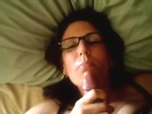 Naughty amateur w glasses Facial II