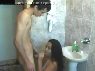 Latina girl brushing her teeth gets disturbed by her skinny bf for a blowjob and doggystyle sex